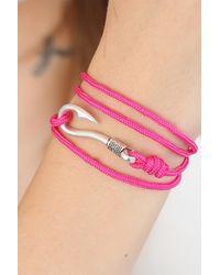 Bold Fuchsia Rope Silver Metal Closure Bracelet - Pink
