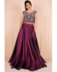 Bold Special Design Damson Crop Blouse & Long Skirt Evening Set - Purple