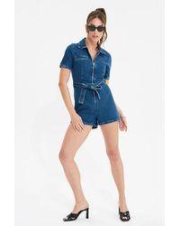Bold Zipper Blue Denim Overall