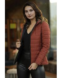 Bold Hooded Tile Red Blown Coat