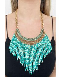 Bold Custom Design Beaded Gold Colour Necklace - Metallic