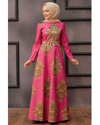 Bold Patterned Fuchsia Evening Dress - Pink