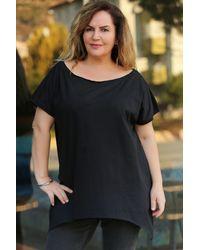 Bold Plus Size V Neck Shabby Black T-shirt