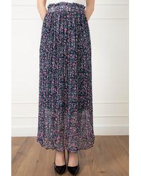 Bold Lined Chiffon Skirt - Blue