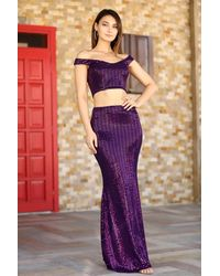 Bold Sequined Purple 2 Pieces Of Evening Skirt Top Set