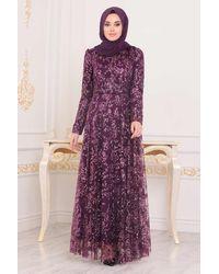 Bold Sequin Pattern Damson Modest Long Evening Dress - Purple