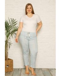 Bold Plus Size Cotton Pyjama Trousers - Multicolour