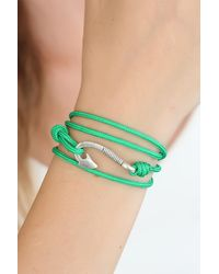 Bold Green Rope Silver Metal Closure Bracelet