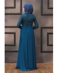 Bold Sequined Indigo Evening Dress - Blue