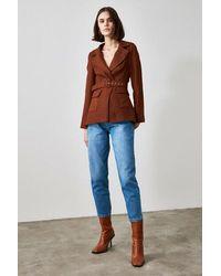 Bold Belted Brown Blazer Jacket