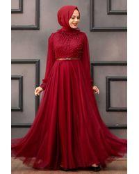 Bold Pearl Detail Claret Red Modest Evening Dress