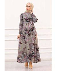 Bold Patterned Grey Modest Dress