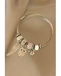 Bold Owl Figure Charm Bracelet - Metallic