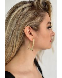 Bold Gold Metal Earrings - 1 Pair - Metallic