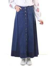 Bold Pleated Dark Blue Modest Denim Long Skirt