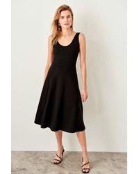 Bold Black Midi Dress