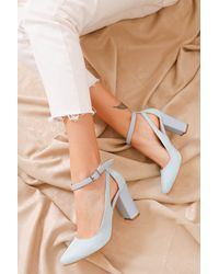 Bold Baby Blue Suede Heeled Shoes - Multicolour