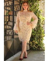 Bold Plus Tulle Sequin Powder Rose Short Evening Dress - Multicolour