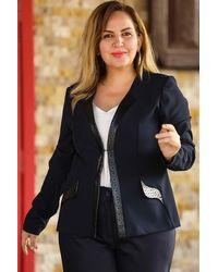 Bold Plus Leather Detail Navy Blue Blazer Jacket