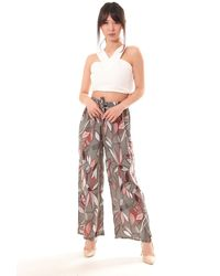 Bold Patterned Wide Leg Trousers - Multicolour