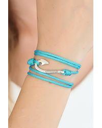 Bold Blue Rope Silver Metal Closure Bracelet