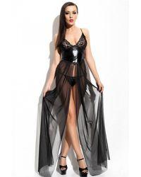 Bold Black Fantasy Nightgown Set