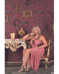 Bold Plus Size Slit Powder Rose Long Nightgown - Pink