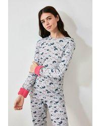 Bold Printed Grey Pyjama Set