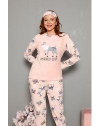 Bold Polar Fleece Soft Pyjama Set - Pink