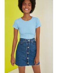 Bold Button Blue Denim Short Skirt