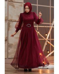 Bold Belted Claret Red Modest Evening Dress