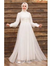 Bold Button Detail Ecru Modest Evening Dress - Natural