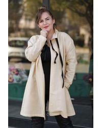 Bold Plus Zipped Beige Jacket - Natural