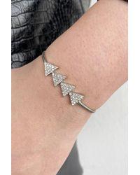 Bold Gemmed Silver Bracelet - Metallic