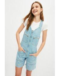Bold Zipper Pocket Blue Denim Overall