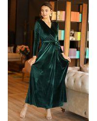 Bold Wrap Green Velvet Long Dress
