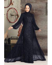 Bold Sequin Navy Blue Modest Evening Dress
