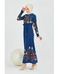 Bold Floral Pattern Indigo Modest Dress - Blue
