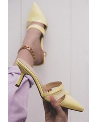Bold Transparent Band Detail Yellow Patent Leather Heeled Slippers - Multicolour
