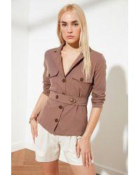Bold Belted Button Pocket Detail Mink Blazer Jacket - Brown