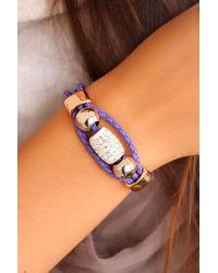 Bold Shiny Gemmed Accessory Purple Leather Bracelet - Multicolour
