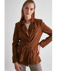 Bold Belted Brown Suede Blazer Jacket