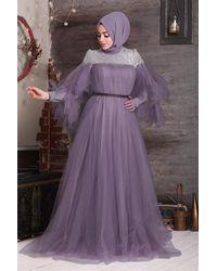 Bold Shoulders Detail Dark Lilac Modest Long Evening Dress - Purple