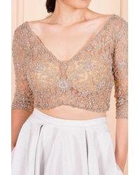 Bold Embroidered Crop Blouse & Grey Long Skirt Evening Set