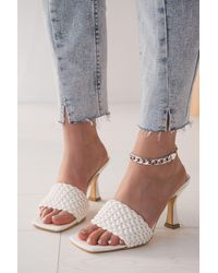 Bold Band Detail White Leather Heeled Slippers