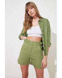 Bold Button Mint Green Bermuda Shorts