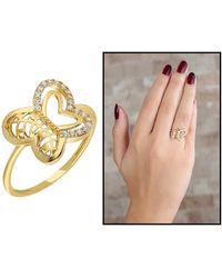 Bold - Zircon Gemmed Butterfly Figure Gold Plated 925 Carat Silver Ring - Lyst