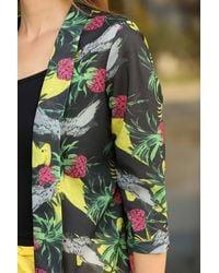 Bold Patterned Anthracite Seasonal Jacket - Multicolour