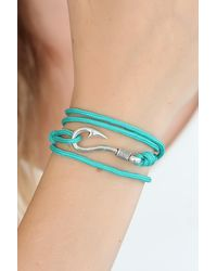 Bold Turquoise Rope Silver Metal Bracelet - Blue
