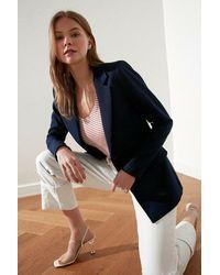 Bold Button Navy Blue Blazer Jacket